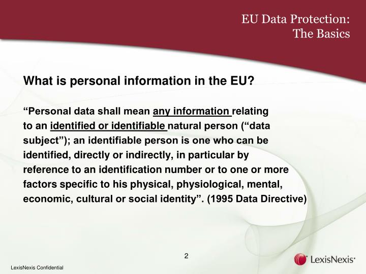 Eu data protection the basics