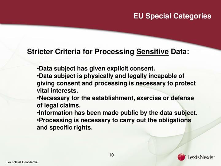 EU Special Categories