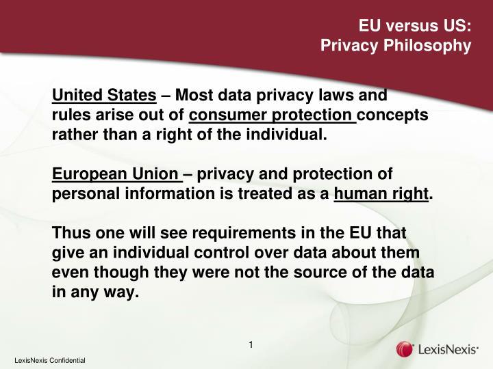 Eu versus us privacy philosophy