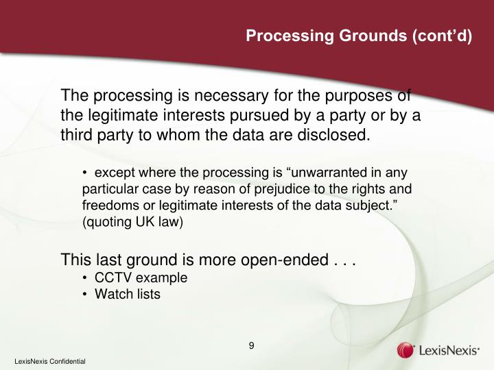 Processing Grounds (cont'd)
