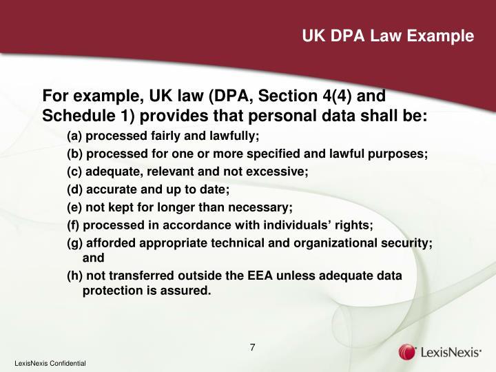 UK DPA Law Example