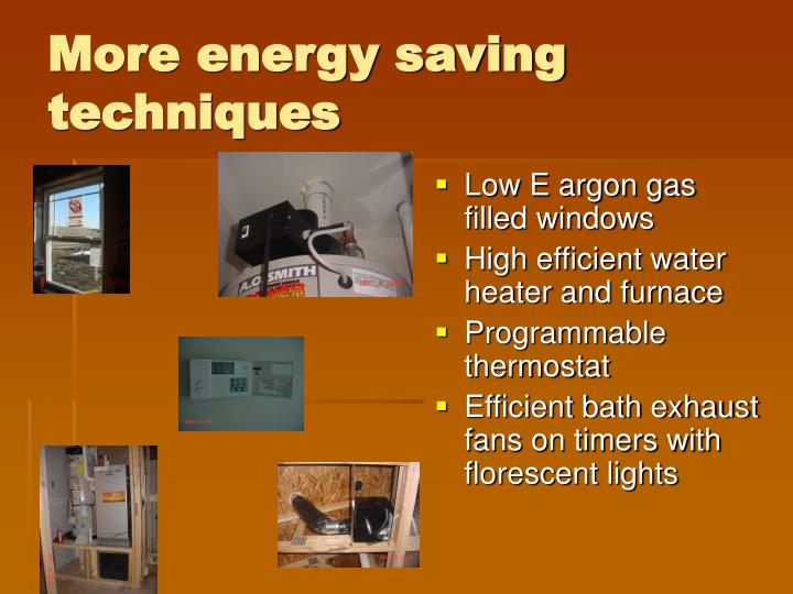 More energy saving techniques