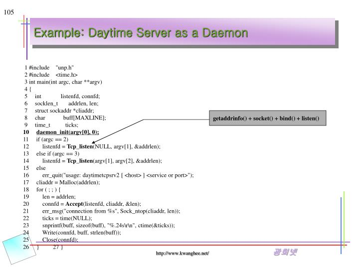 Example: Daytime Server as a Daemon