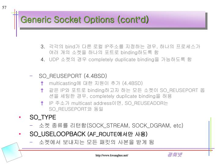 Generic Socket Options (cont
