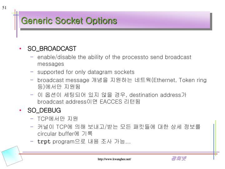 Generic Socket Options