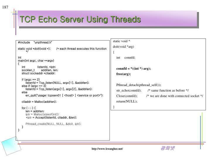 TCP Echo Server Using Threads