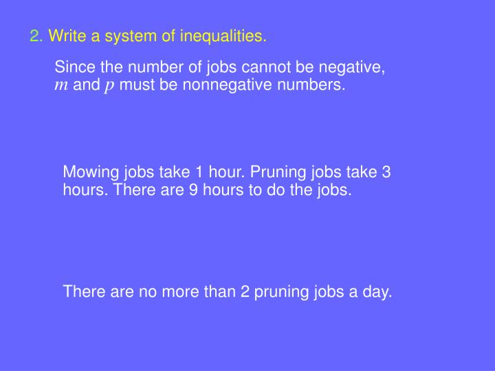 Write a system of inequalities.