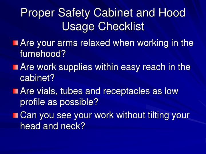 Proper Safety Cabinet and Hood Usage Checklist