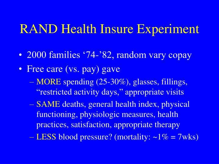 RAND Health Insure Experiment