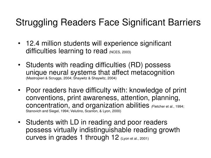 Struggling Readers Face Significant Barriers
