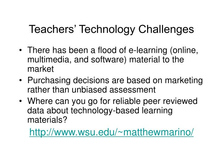 Teachers' Technology Challenges