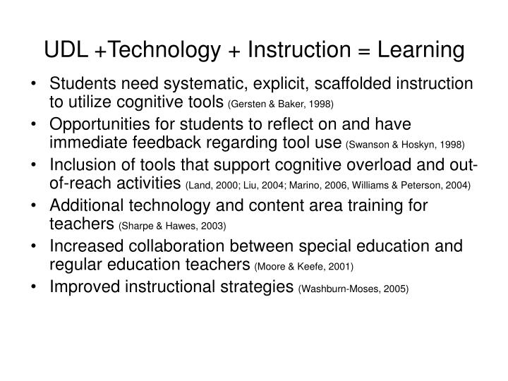 UDL +Technology + Instruction = Learning