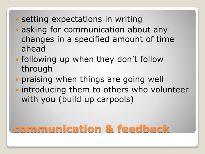 setting expectations in writing