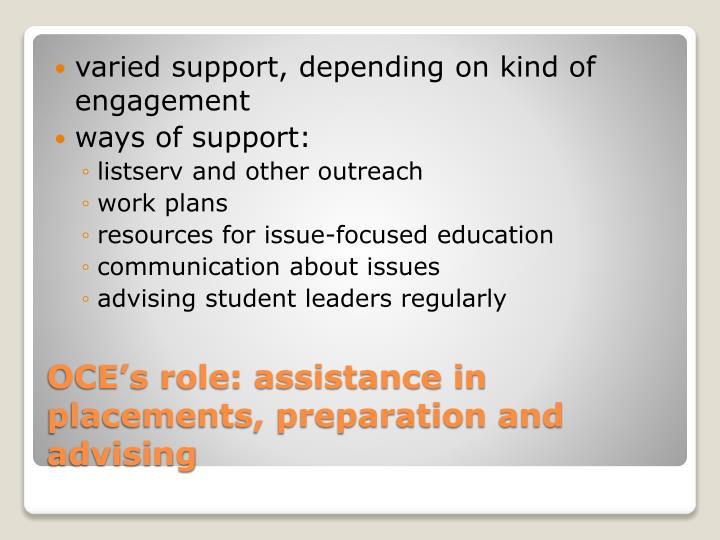 varied support, depending on kind of engagement