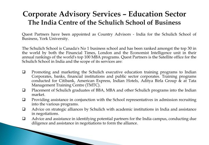 Corporate Advisory Services – Education Sector