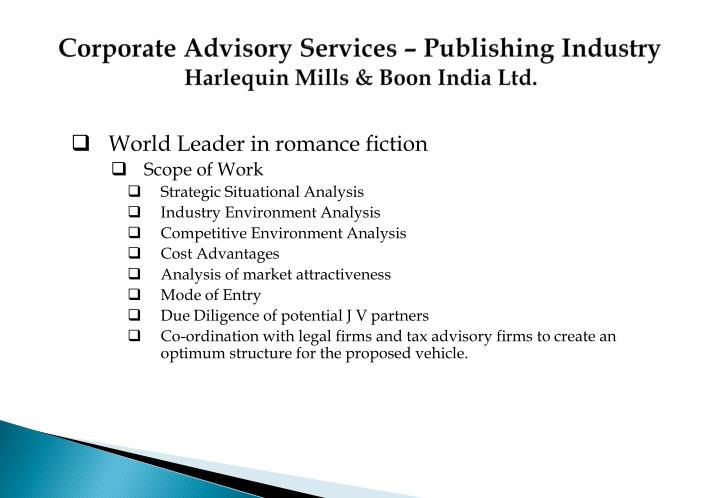 Corporate Advisory Services – Publishing Industry