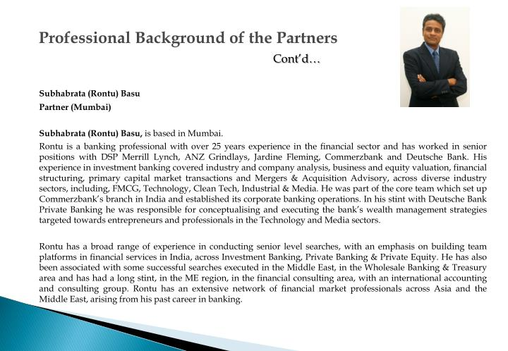 Professional Background of the Partners