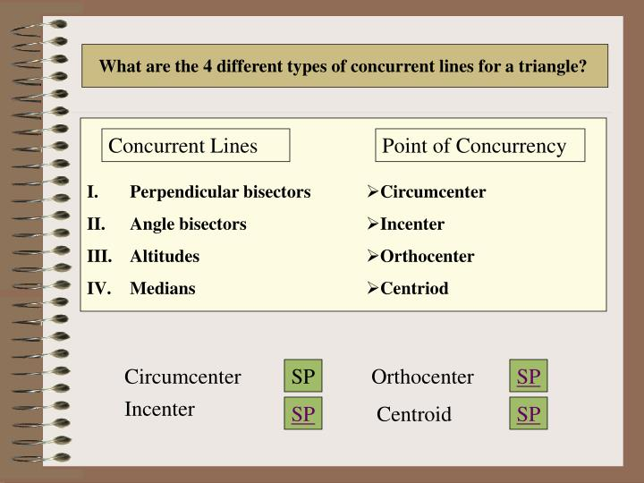 What are the 4 different types of concurrent lines for a triangle?