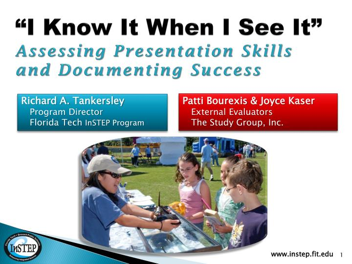 i know it when i see it assessing presentation skills and documenting success n.