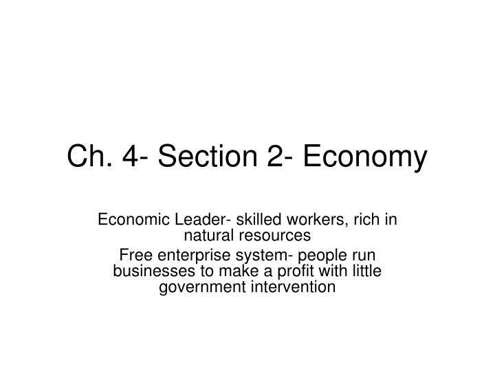 Ch 4 section 2 economy