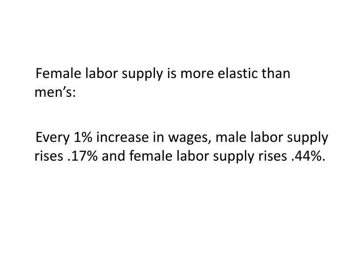 Female labor supply is more elastic than men's: