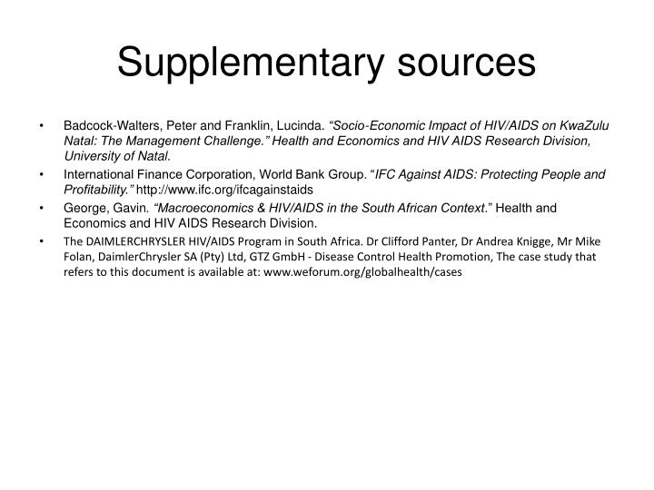 Supplementary sources