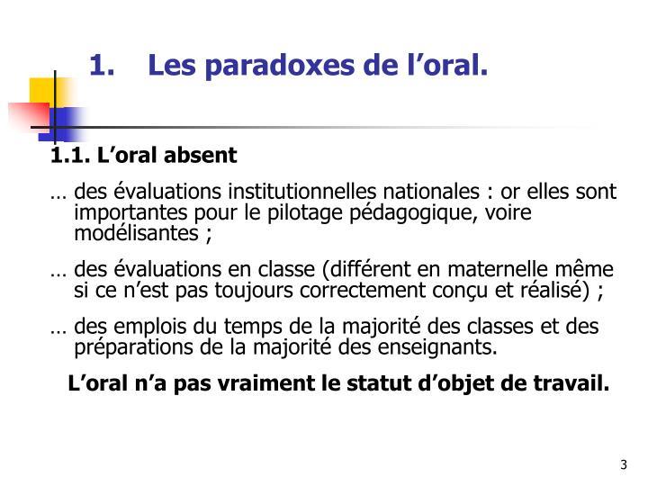 Les paradoxes de l oral