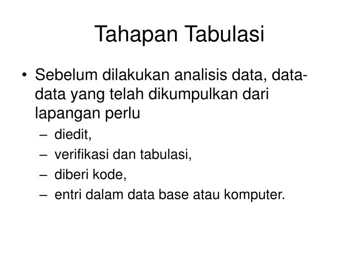 Tahapan tabulasi