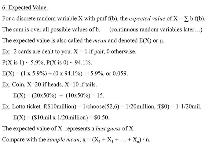 6. Expected Value.