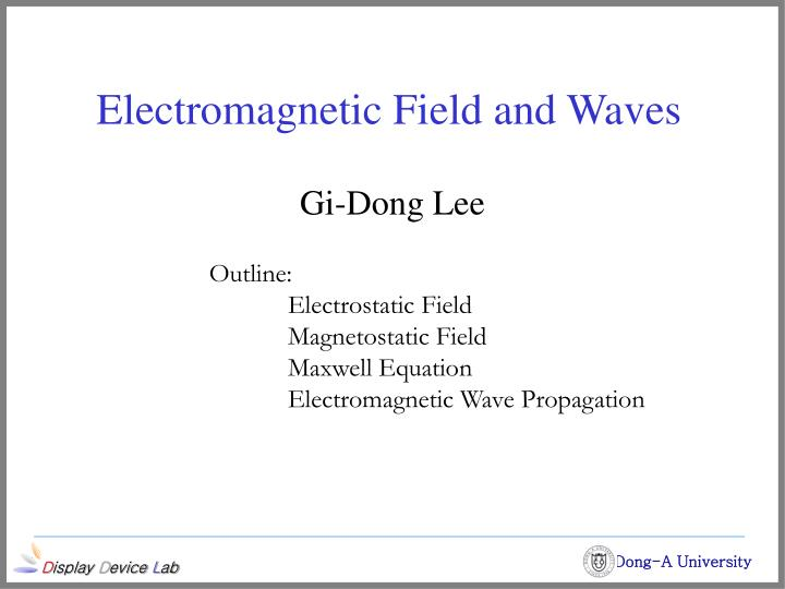 electromagnetic field and waves n.