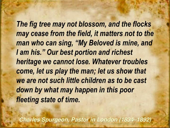 """The fig tree may not blossom, and the flocks may cease from the field, it matters not to the man who can sing, """"My Beloved is mine, and I am his."""" Our best portion and richest heritage we cannot lose. Whatever troubles come, let us play the man; let us show that we are not such little children as to be cast down by what may happen in this poor fleeting state of time"""