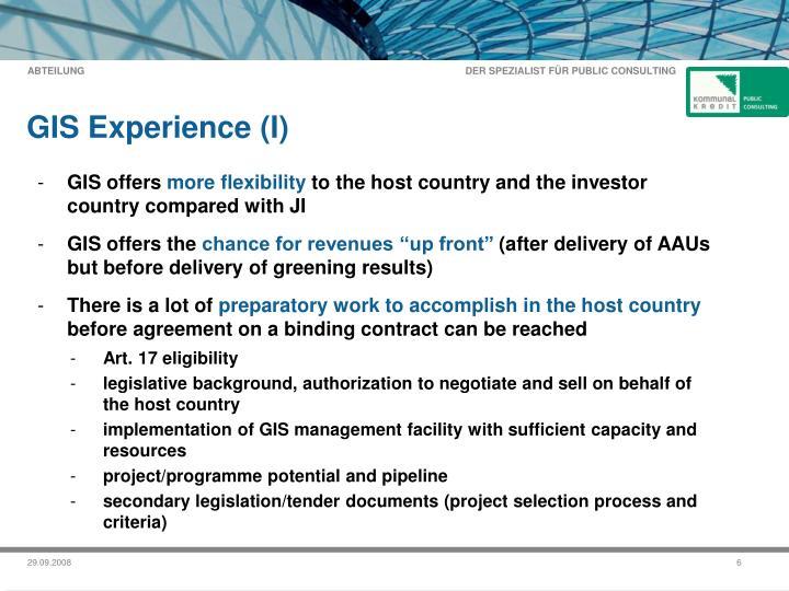 GIS Experience (I)