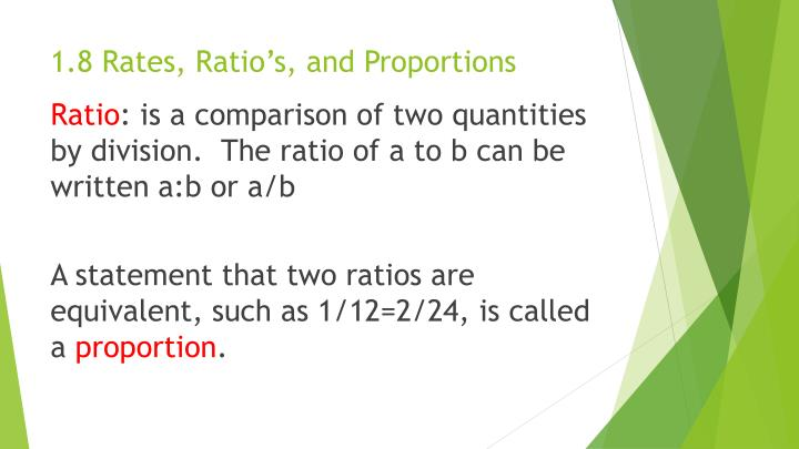 1.8 Rates, Ratio's, and Proportions