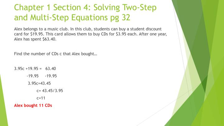 Chapter 1 Section 4: Solving Two-Step and Multi-Step Equations
