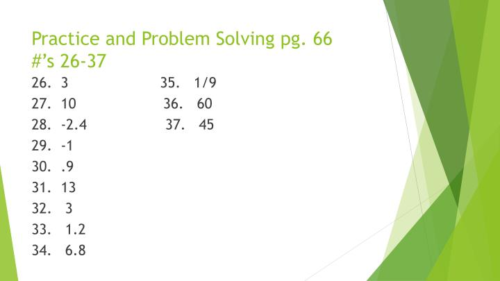 Practice and Problem Solving pg.