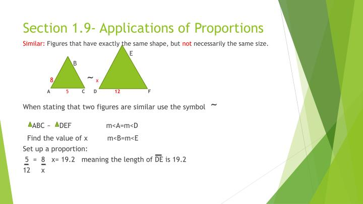 Section 1.9- Applications of Proportions