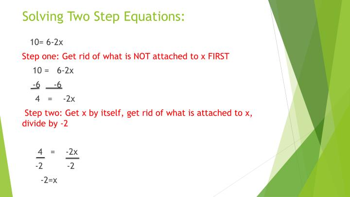 Solving Two Step Equations: