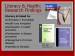 literacy health research findings