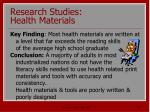 research studies health materials