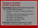 research studies health outcomes