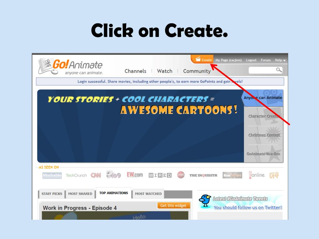 PPT - How to Create a Cartoon Using Go!Animate ccunningham