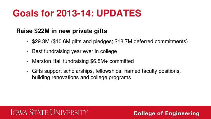 Goals for 2013-14: UPDATES