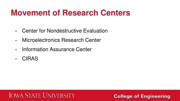 Movement of Research Centers