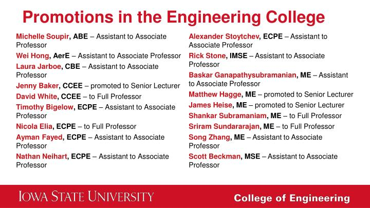 Promotions in the Engineering College