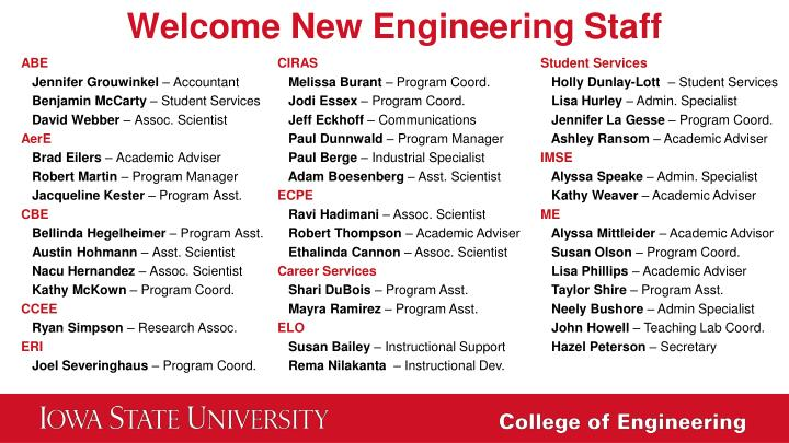 Welcome New Engineering Staff