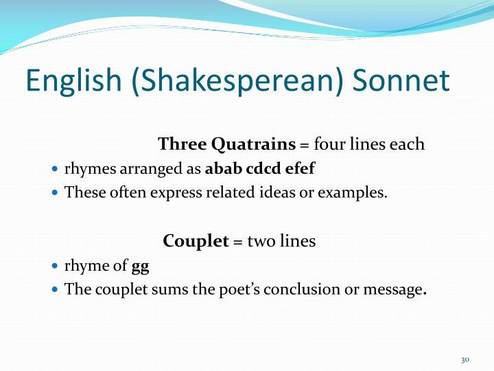 English (Shakesperean) Sonnet