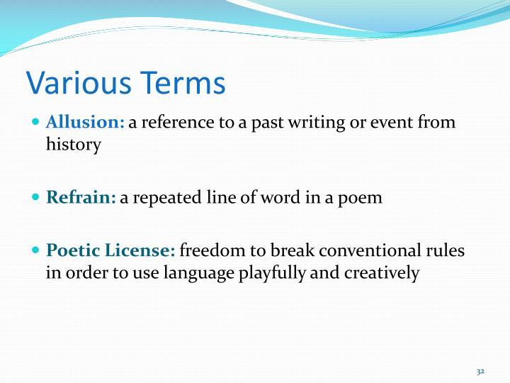 Various Terms