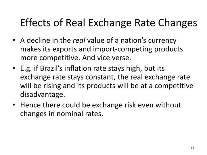 Effects of Real Exchange Rate Changes
