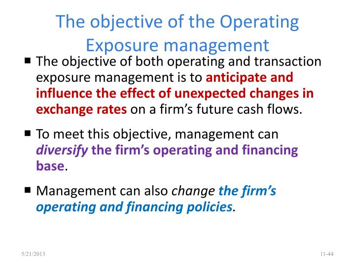 The objective of the Operating Exposure management