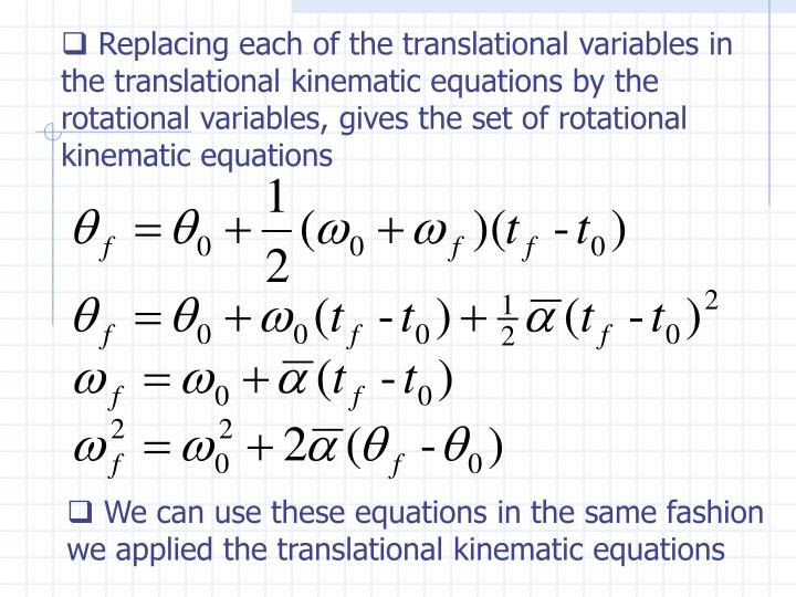 Replacing each of the translational variables in the translational kinematic equations by the rotational variables, gives the set of rotational kinematic equations